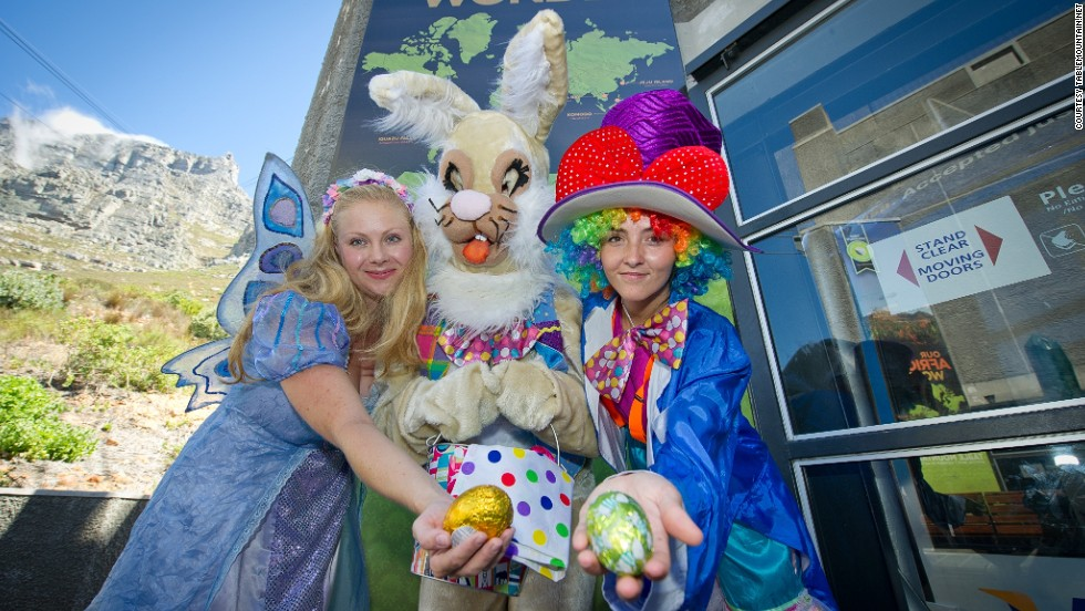 The Easter Fairy, Mad Hatter and the Easter Bunny carrying a basket of chocolate eggs lead the way on this high altitude egg hunt on top of Cape Town's Table Mountain.