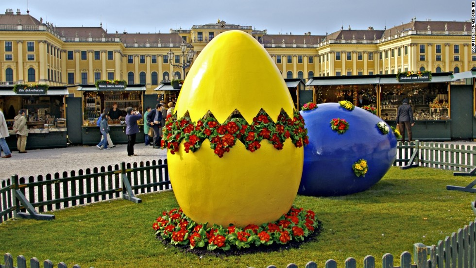 Austria's beautiful Schönbrunn Palace serves as the backdrop for an annual Easter market.
