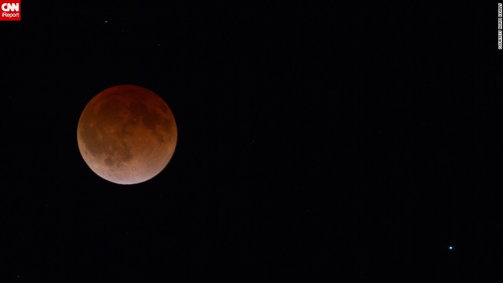 "<a href=""http://ireport.cnn.com/docs/DOC-1120890"">Norm Keally</a> stood outside in 28-degree weather to capture the start of the lunar eclipse in Fort Collins, Colorado, early on April 15. ""I felt fortunate to be able to witness this eclipse,"" he said."