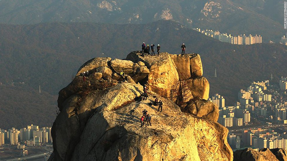 """<strong>Bukhansan National Park</strong><br /><br />Jaunbong peak on Dobongsan Moutain in Bukansan National Park offers a view like none other in Seoul. It's easily accessible -- the start of the trail is a 10-minute walk from Dobongsan subway station. Photo by Fergus Scott. <br /><br /><a href=""""http://travel.cnn.com/koreas-best-hikes-609141"""" target=""""_blank"""">MORE: 7 gorgeous Korean mountain hikes</a>"""