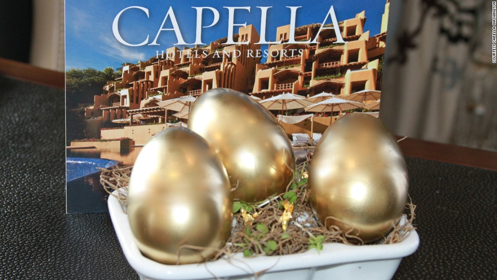 The Capella Washington, D.C. hotel posts pictures of golden eggs hidden around the city on its social media sites. After finding the eggs, egg hunters call the number in the egg to claim a prize.
