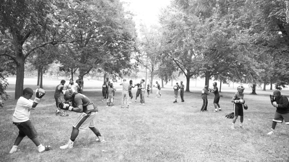 Crushers hold a boxing workout in Ogden Park with coaching by professional boxer Antonio Canas.