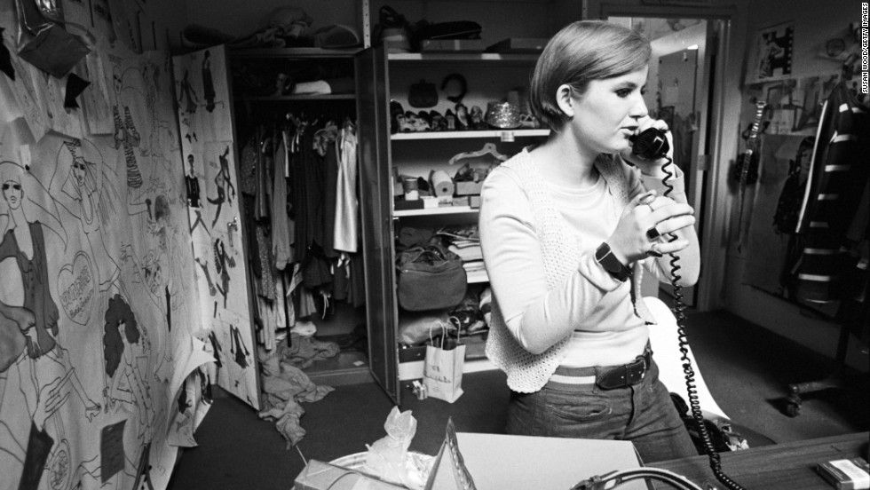 American fashion designer Betsey Johnson interned at Mademoiselle magazine after winning a magazine contest in 1964. One year later, she landed the top designer position for Paraphernalia, a clothing boutique that housed the hottest young designers. She's seen here in 1966 on the telephone in her New York studio.