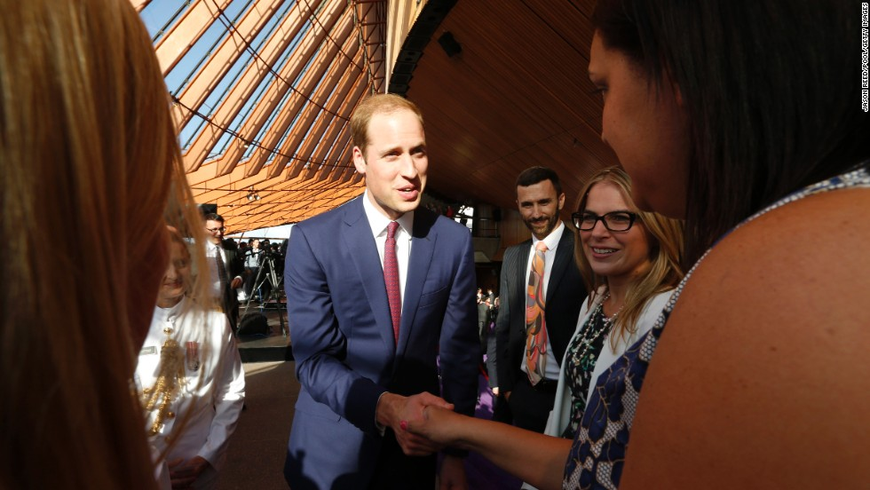 William greets guests during an April 16 reception at the Sydney Opera House.