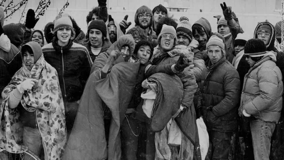 Devoted fans wait in the cold and snow to buy tickets for AC/DC's Denver show in 1982.