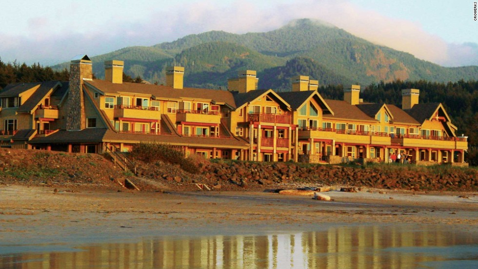 Although it was built in 2002, the Ocean Lodge's 1940s style -- a stone-and-timber exterior and big verandas -- evokes an old-school resort feeling in Cannon Beach, Oregon.
