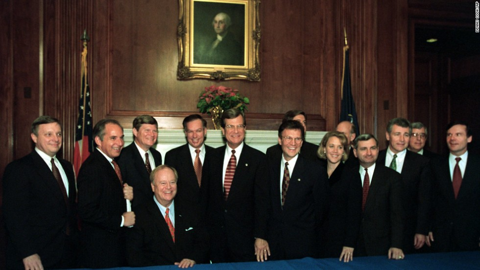 In 1996, as a freshman senator, Mary Landrieu survived a bruising runoff and narrow win in her home state of Louisiana before finally assuming office.  Senate Majority Leader Trent Lott, R-Mississippi and Senate Minority Leader Tom Daschle, D-South Dakota, pose with Landrieu and other new senators  after a bipartisan orientation session on Capitol Hill on December 3, 1996.