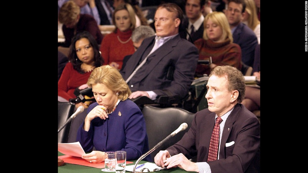 Landrieu has prided herself on taking positions that, at times, run counter to conventional wisdom about Democrats.  Here she and former Sen. Arlen Specter, R-Pennsylvania, testify, with Christopher Reeve directly behind them, before the a congressional committee hearing on the dangers of cloning and the promise of regenerative medicine on March 5, 2002.