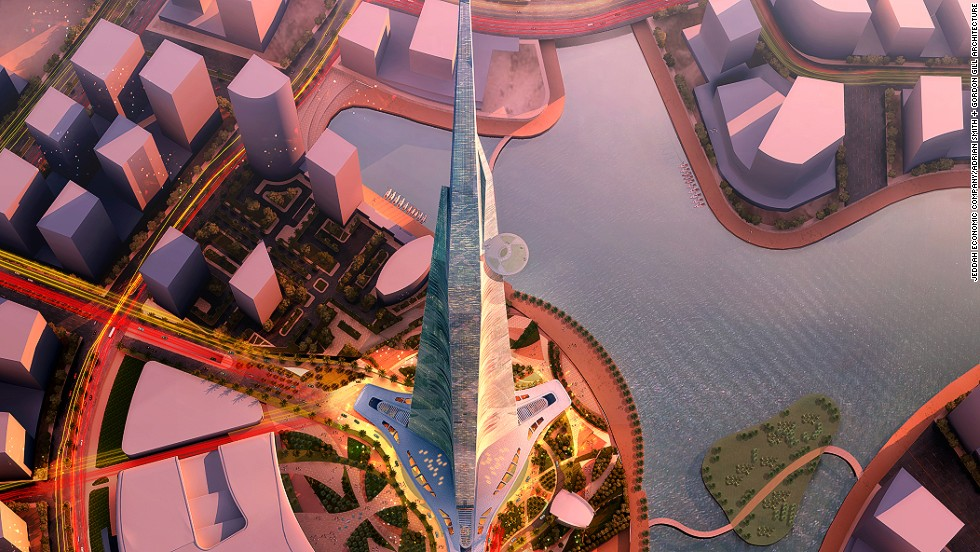 The Kingdom Tower will be the world's tallest at a height of 1 kilometer.