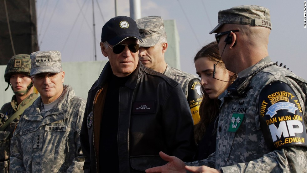 Biden is briefed in December during his tour of the Demilitarized Zone that separates North and South Korea.