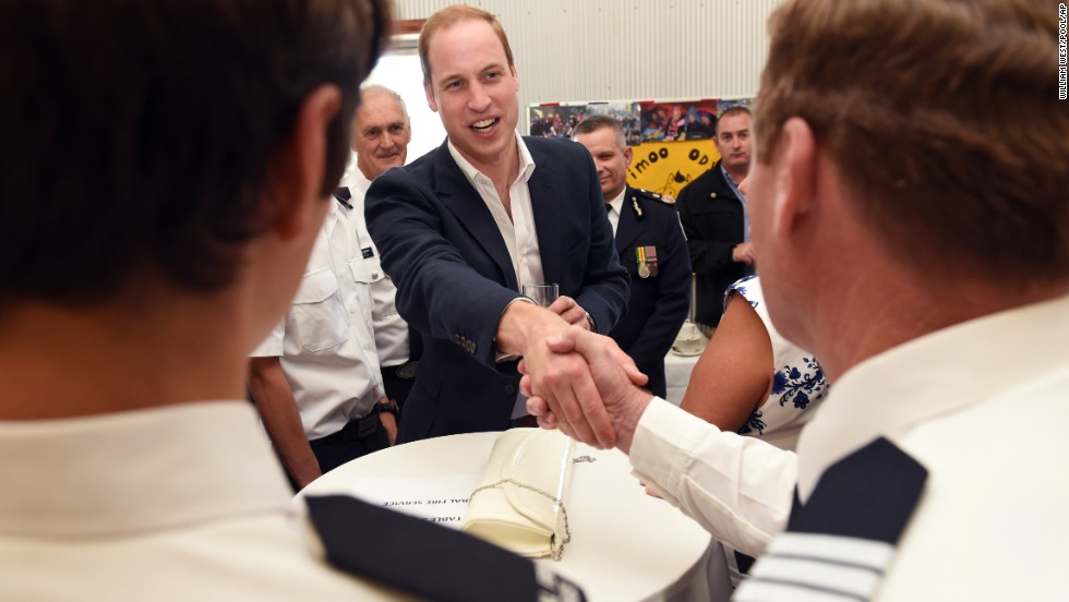 William greets emergency services personnel in Winmalee on April 17.