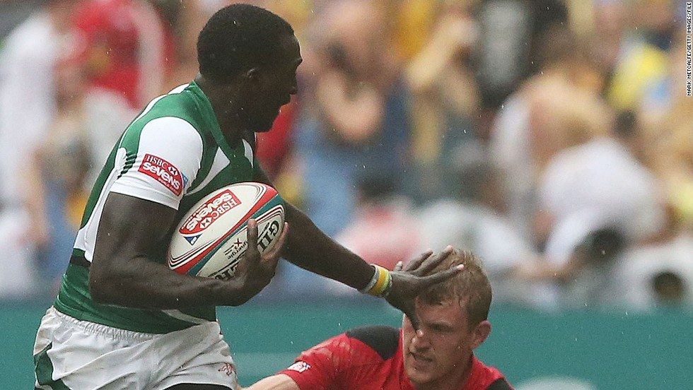 A third sibling, Michael Agevi, is also a member of the Kenya sevens team. Here he is in action against Wales at the Hong Kong Sevens in March, where Kenya won the third-tier Shield final as one of the teams that didn't qualify for the main tournament quarterfinals.<br />