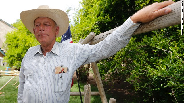 Rancher Cliven Bundy poses for a photo outside his ranch house on April 11, 2014 west of Mesquite, Nevada. Bureau of Land Management officials are rounding up Cliven Bundy's cattle, he has been locked in a dispute with the BLM for a couple of decades over grazing rights