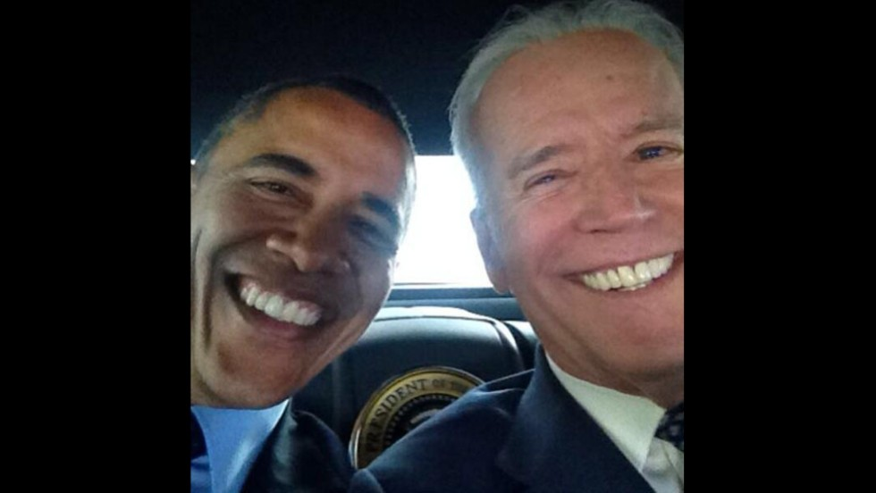 "U.S. Vice President Joe Biden <a href=""http://instagram.com/p/m3z66SlwW4/"" target=""_blank"">posted the first selfie</a> to his new Instagram account on Wednesday, April 16 -- and it was with President Barack Obama. The White House Twitter account also posted the photo with a simple caption: ""Pals."" Click through to see more photos of Biden and Obama together."