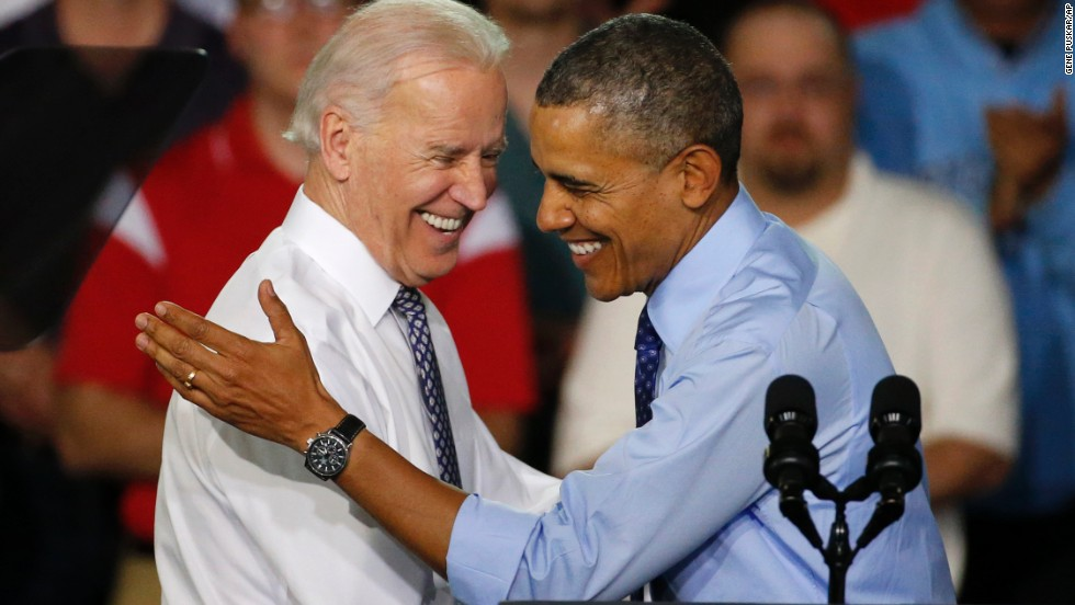 "Obama is introduced by Biden as he arrives at an event in Oakdale, Pennsylvania, on April 16. In a recent CBS News interview, Obama said Biden ""will go down as one of the finest vice presidents in history"" and has been ""a great partner in everything that I do."""