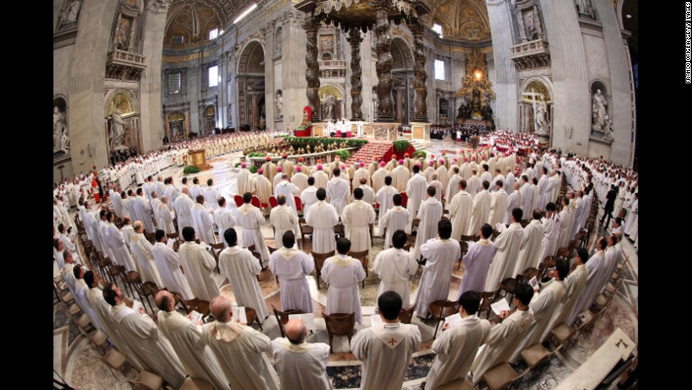 A general view of St. Peter's Basilica during the Chrism Mass celebrated by Pope Francis on April 17 in Vatican City.