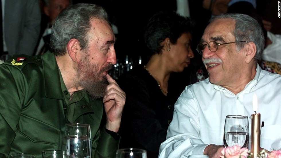 Cuban leader Fidel Castro speaks with García Márquez at the annual cigar festival in Havana in 2000. The author was a vocal leftist and defender of Castro's Cuba.