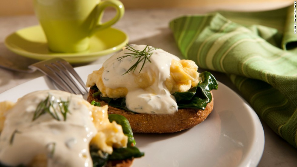 "This scrumptious breakfast dish uses a lightened-up version of Hollandaise sauce. See below for this recipe and others from ""Biggest Loser"" trainer Bob Harper."