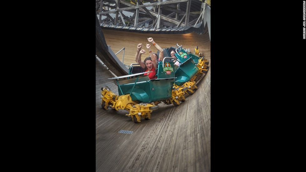 On Flying Turns at Knoebels Amusement Resort in Elysburg, Pennsylvania, you're in a wooden chute without any tracks making very tight turns. The new ride is modeled after innovative wooden roller coasters of the 1920s.