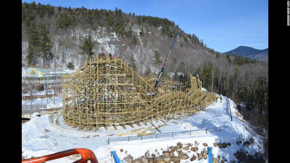 Construction of Roar-O-Saurus at Story Land in Glen, New Hampshire, has been hindered by this winter's ample snowfall. The park is hoping the new wooden coaster will be ready to open in May.
