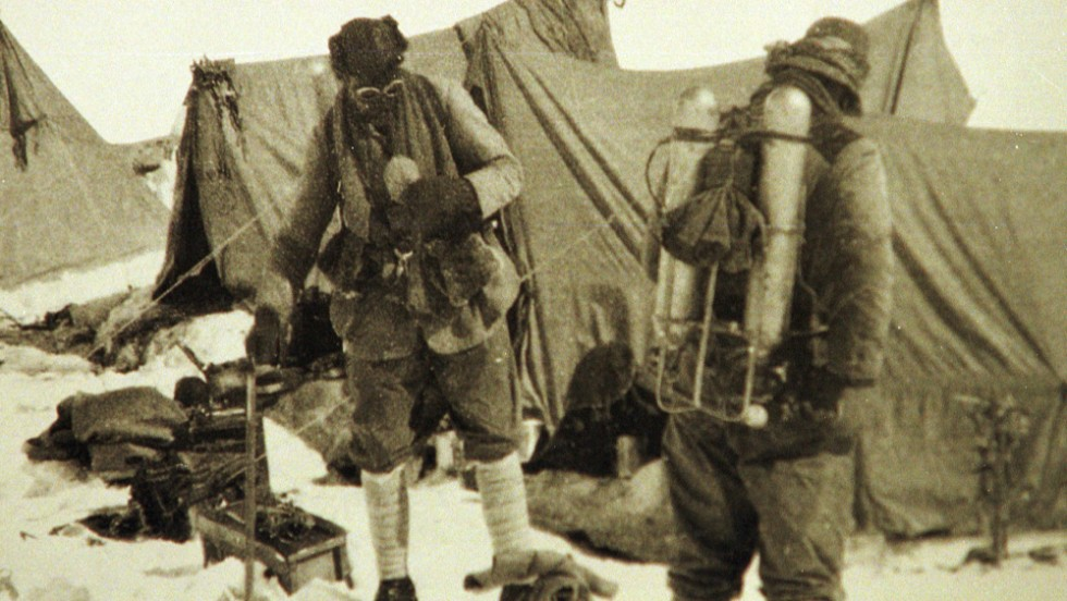 Mallory returns to Everest In June 1924. He's seen here with his climbing partner Andrew Irvine at the base camp. This is the last photo of the the two before they disappeared on the mountain. Mallory's body was found 75 years later, showing signs of a fatal fall. The camera the pair were known to carry, and which may hold clues to their demise, has never been found.