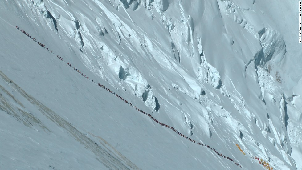 Mountaineer Ralf Dujmovits took this image of a long line of climbers heading up Everest in May 2012.