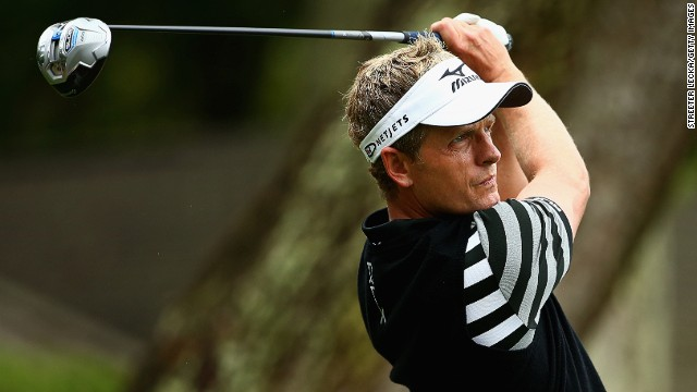 Luke Donald eyes a drive during Saturday's play at the RBC Heritage tournament.