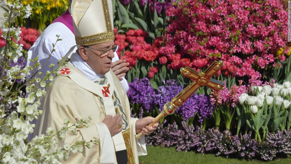Pope Francis arrives at St. Peter's Square for Easter Mass on Sunday, April 20, in Vatican City. Easter Sunday celebrates the Christian belief in Jesus' resurrection.