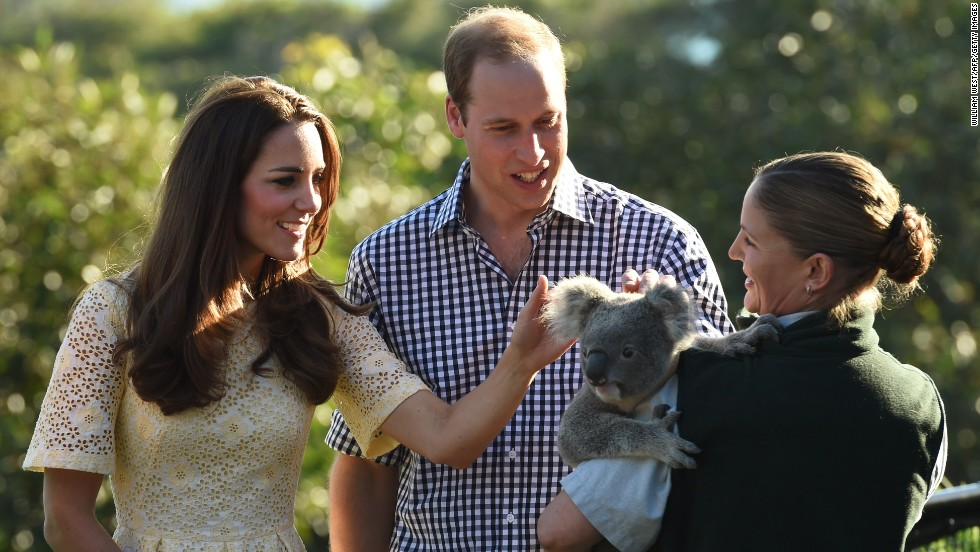 The Duchess of Cambridge and Prince William pat a koala named Leuca, held by Lucinda Cveticanin, during their visit to the zoo on April 20.