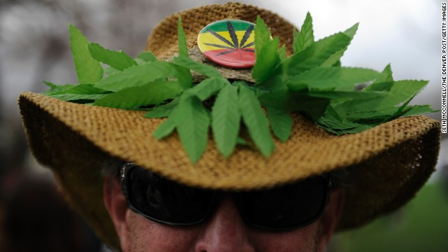 """Chaz"" shows off his marijuana-themed hat during the 420 Rally at Civic Center Park in Denver."