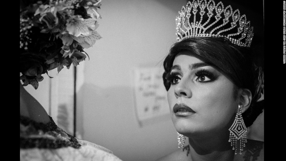 "Peretti photographed Nataly Angel Miranda, the winner of the 2012 contest, in her dressing room ahead of the 2013 pageant. ""The theme of bambuco is love,"" Peretti said. ""The process of falling in love and courting in the rural society is expressed through the dance."""