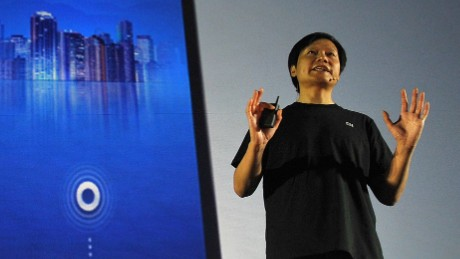 Xiaomi CEO Lei Jun speaks at the launch of a new Xiaomi smartphone in Beijing late last year. The company's phones outsell the Apple iPhone in China.