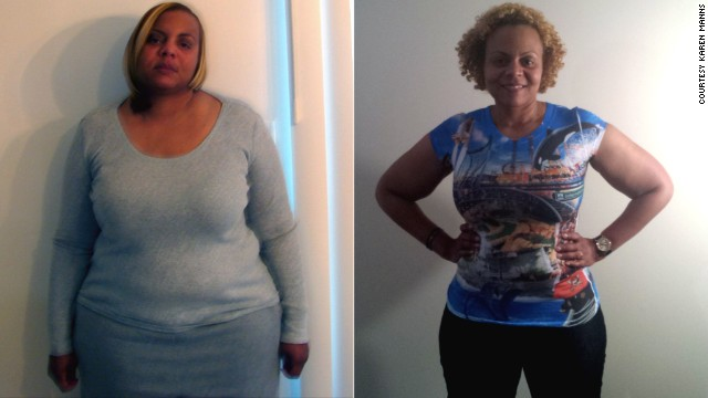 At her heaviest, Fit Nation participant Karen Manns weighed  268 pounds. Today she's 202 pounds.