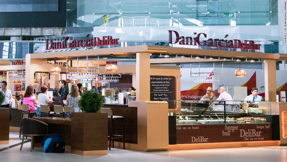 This airport in Spain serves modern tapas with classic Andalusian flavors -- cherry gazpacho, crab ravioli and oxtail burger are a few of the menu items.