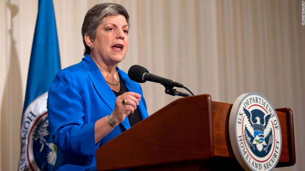 The former secretary of homeland security, now president of the University of California, delivered the commencement address at Northeastern University in Boston on May 2. Here, she gives a farewell address at the National Press Club in Washington in 2013.