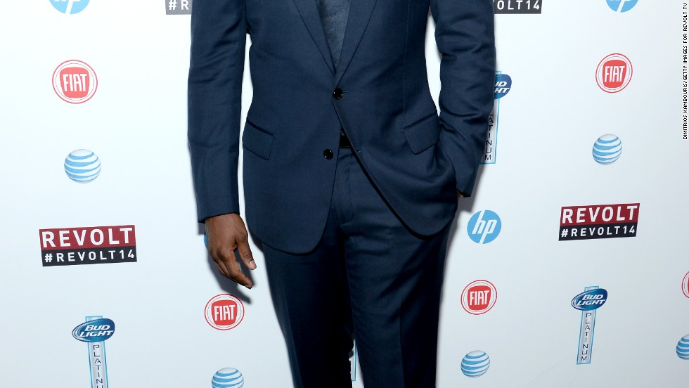 "Sean ""P. Diddy"" Combs looks sharp at Revolt TV's first upfront presentation in New York City on April 22."