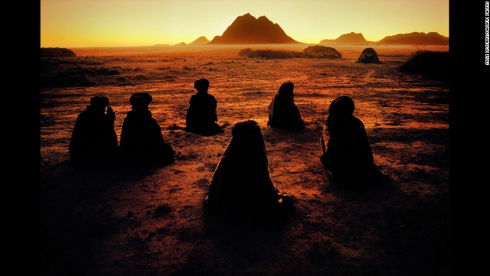 Kuchi nomads pray near Kandahar, 1992.