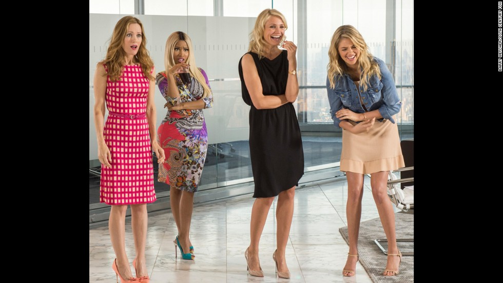 "<strong>No. 5 (tie): </strong>Cameron Diaz, second from right, has had a steady stream of work that's added up to about $18 million in the past year. It includes the 2014 comedy ""The Other Woman,"" which also starred Leslie Mann, from left, Nicki Minaj and Kate Upton."