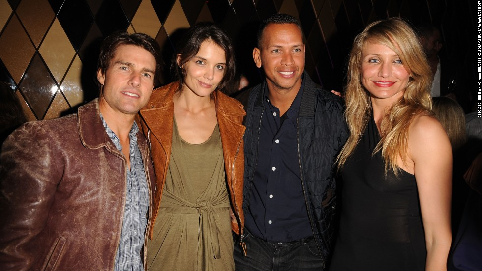"In 2010 everyone wanted to know whether Diaz and baseball star Alex Rodriguez were the item they appeared to be, but the actress wasn't talking. Diaz, seen here with Tom Cruise, Katie Holmes and Rodriguez at a Super Bowl party in Miami that year, once dodged questions about A-Rod by <a href=""http://www.cnn.com/video/?/video/bestoftv/2011/02/28/exp.sbt.cameron.diaz.porn.hln&iref=allsearch"" target=""_blank"">establishing her love for porn</a>."