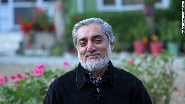 Afghan presidential candidate Abdullah Abdullah at his residence in Kabul, Afghanistan on April 20, 2014.