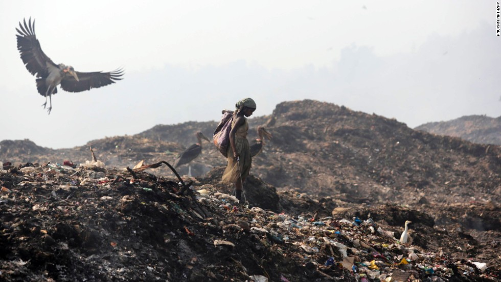 On Earth Day, a greater adjutant stork flies by a picker looking for recyclable items at a garbage dump on the outskirts of Gawuhati, India, on Tuesday, April 22.