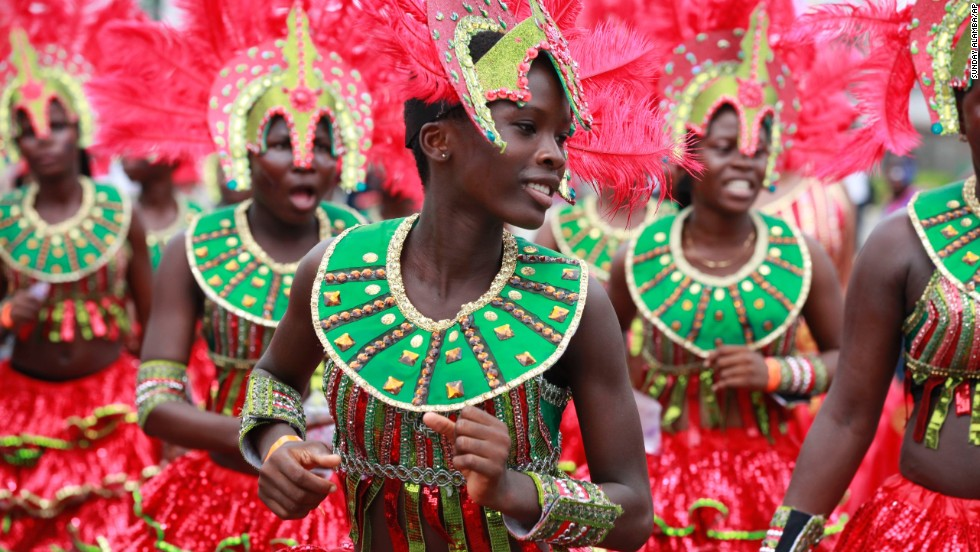 Performers dance through the street during the Lagos Carnival in Nigeria on Monday, April 21.