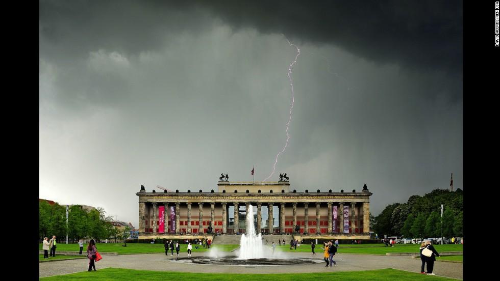 Lightning strikes Museum Island in Berlin on Wednesday, April 23.