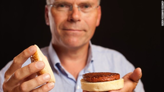 This lab-grown burger was developed by Professor Mark Post of Maastricht University in the Netherlands.