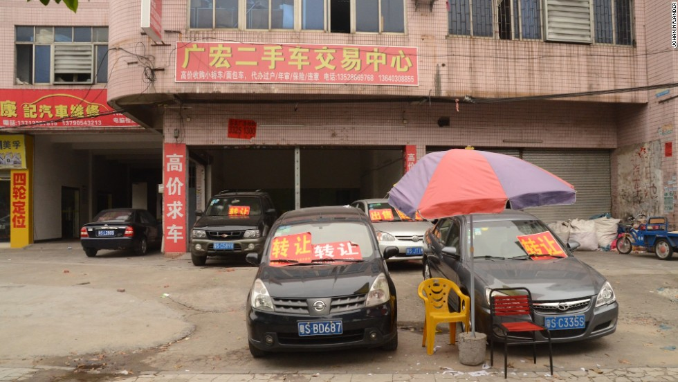 Last year, the number of used cars in China increased by 8.6% to 5.2 million units. Many used car dealerships are small, such as this one in the southern city of Dongguan.