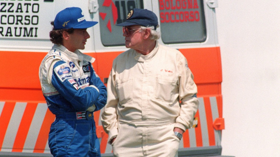 Ayrton Senna (left) -- seen here talking to to then F1 medical chief, Sid Watkins -- had planned to unfurl an Austrian flag in his honor at the end of Sunday's race.