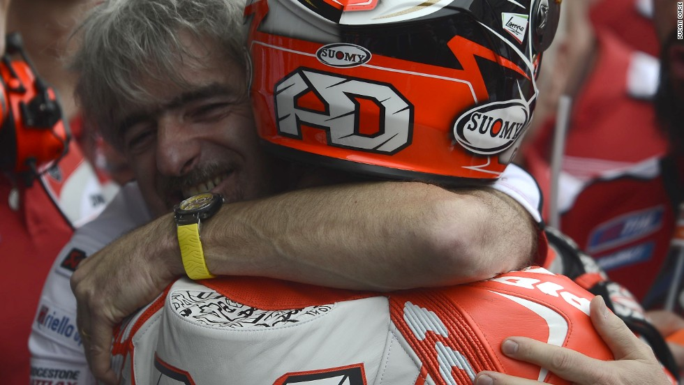 Ducati's team principal Gigi Dall'Igna was delighted with Dovizioso's showing in Austin, embracing the Italian after he crossed the finish line.