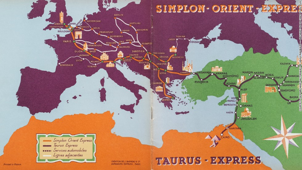 The Orient Express was more than just a service connecting two opposite sides of Europe. It was also a gateway to the Middle East, and from Istanbul travelers could catch connecting services to places like Aleppo, Damascus, Beirut, Baghdad, and Cairo. This map from 1931 shows the Orient-Express network, as well as its connection to Taurus Express which opened up new routes in the Middle East.
