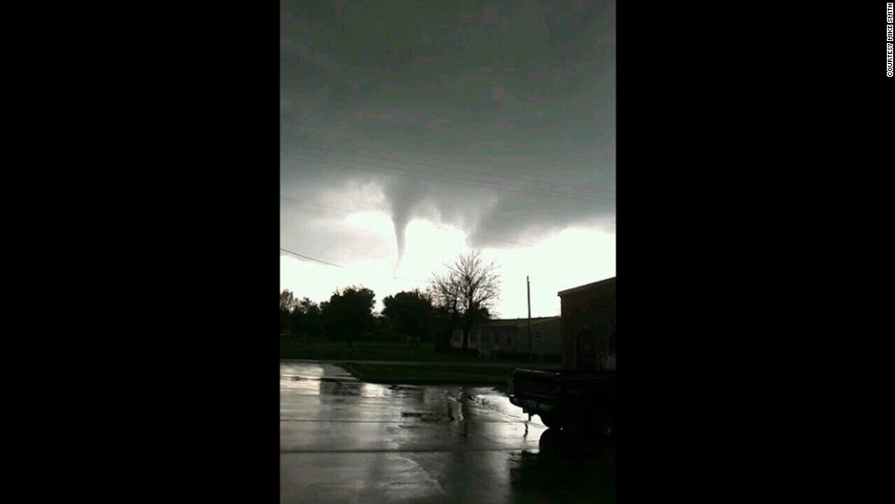 A funnel cloud is seen near Baxter Springs on April 27.