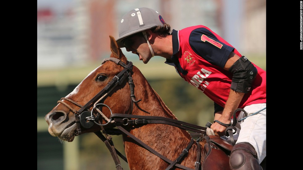 Colombia's Felipe Marquez Ochoa reacts during a polo match against England on Thursday, April 24, during the Copa de las Naciones event in Buenos Aires. England ended up winning the tournament, defeating hosts Argentina in the final.